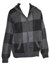Men's Blak ROCAWEAR Knit Sweater Hoodie Black Grey Checkered Zipper Front - $24.99
