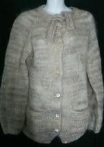 Vintage Liz Claiborne Cardigan Sweater Large L Soft Acrylic Beige Tie 1970's - $19.78