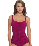 Profile by Gottex Cranberry Waterfall Shirred Tankini Top (8) - $53.99
