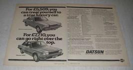 1980 Datsun Laurel 2 Litre and 280C Car Ad - Luxury - $14.99