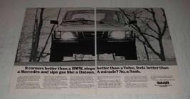 1980 Saab 900 GLE Car Ad - It Corners Better Than a BMW - $14.99