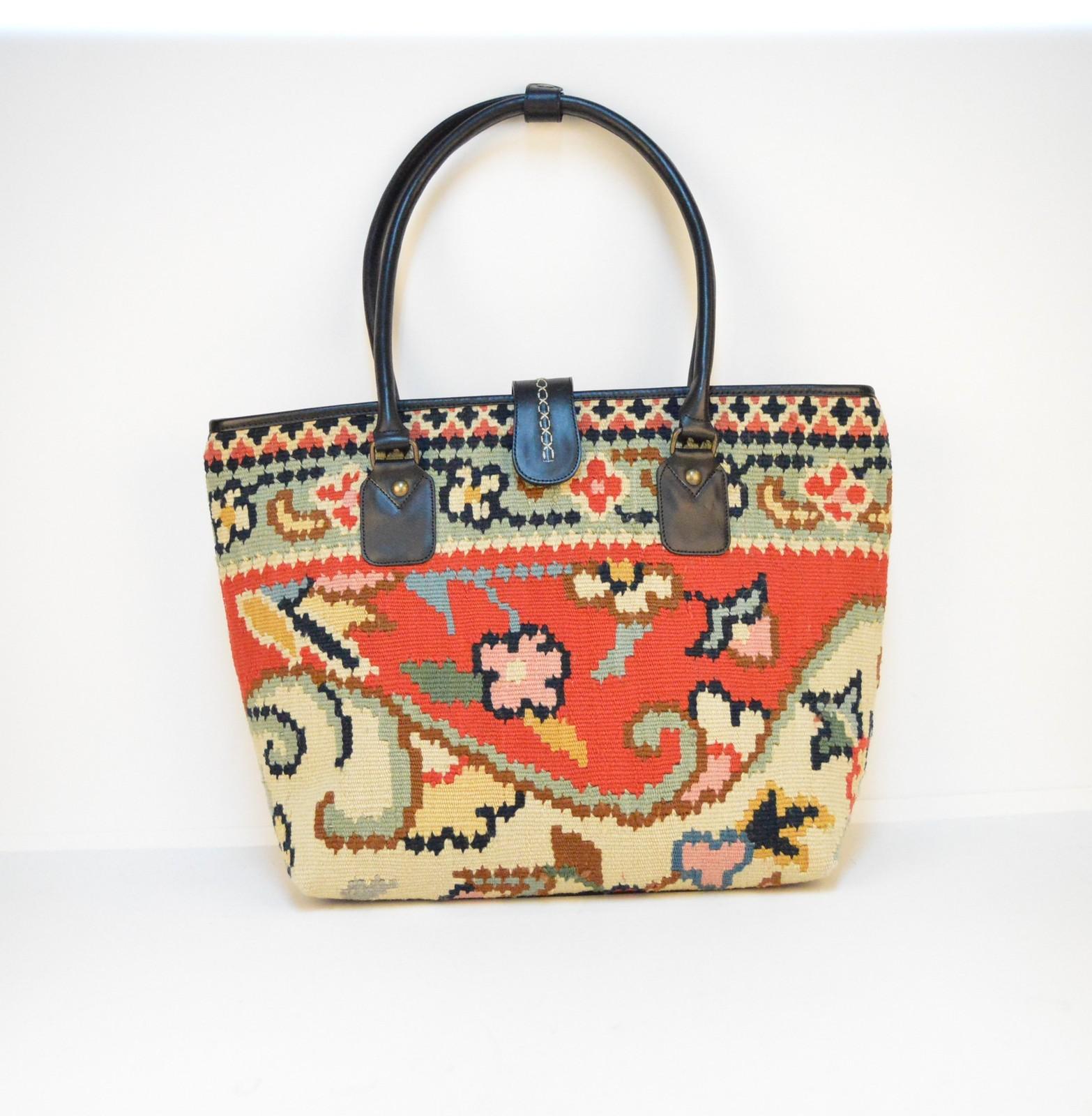 HAND BAG Kilim Bags black Leather Handbag, Shoulder Bag leather rug hand bags - $240.00