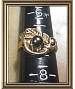 ANTIQUE LOVERS> Art Nouveau c.1895-1910 14K Solid Y.GOLD Gray PEARL FLOR... - $225.00