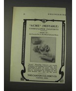 1910 Canton Culvert Acme Nestable Culverts Ad - $14.99