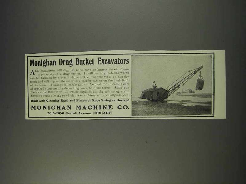 1910 Monighan Machine Co. Drag Bucket Excavators Ad