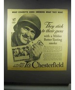 1942 Chesterfield Cigarettes Ad - Stick to Their Guns - $14.99