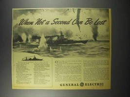 1942 General Electric Navy Cruiser Ad - Not a Second - $14.99