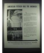1946 International Correspondence Schools Ad - Potash - $14.99