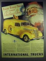 1938 International Harvester Truck Ad - Santa - $14.99