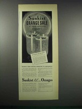 1938 Sunkist Valencia Oranges Ad - Sale At Dealers - $14.99