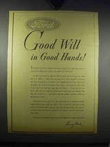 1943 Ford Motors Ad - Good Will in Good Hands - $14.99