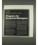 1982 Carnegie-Mellon University Ad - Technical Managers - $14.99