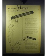1943 Macy's Department Store Ad - Short of Pennies - $14.99