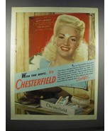 1944 Chesterfield Cigarettes Ad - Betty Grable - $14.99