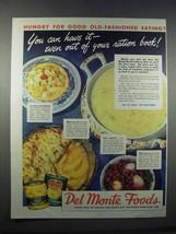 1944 Del Monte Peaches, Fruit Cocktail, Corn & Beets Ad - $14.99