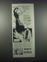 1944 Hinds for Hands Cream Ad - Wash Soft and Pretty - $14.99
