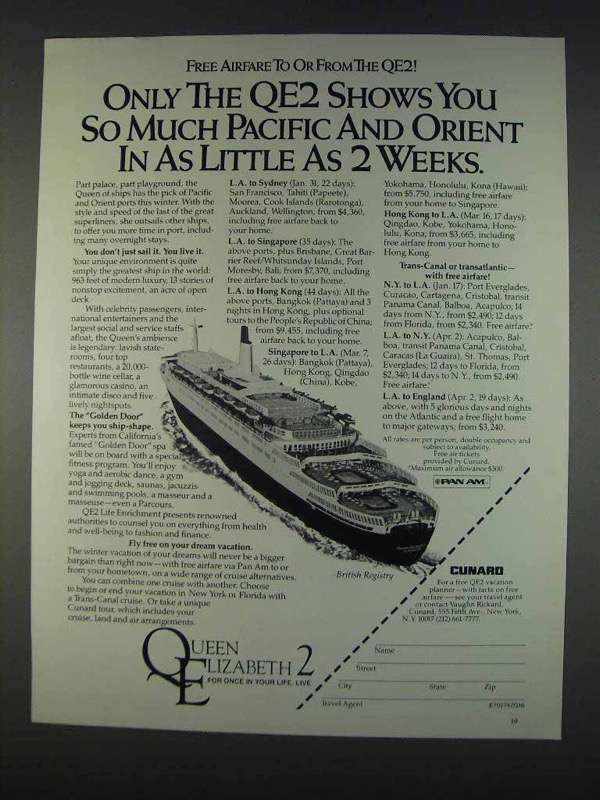 Primary image for 1982 Cunard Queen Elizabeth 2 Cruise Ad - Only the QE2