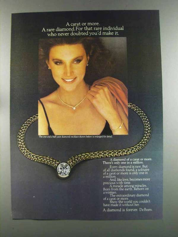 Primary image for 1982 De Beers Diamond Necklace Ad - A Carat or More