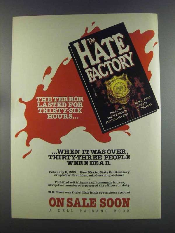 Primary image for 1982 Dell The Hate Factory Book Ad - The Terror