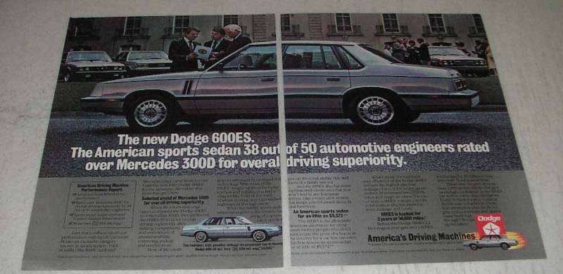 Primary image for 1982 Dodge 600ES Ad - American Sports Sedan