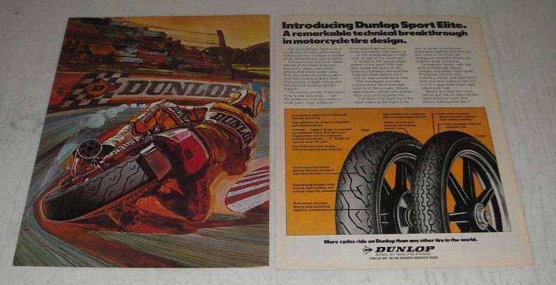 Primary image for 1982 Dunlop Sport Elite Motorcycle Tires Ad