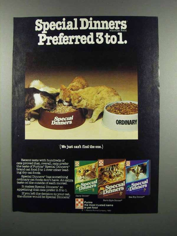 Primary image for 1983 Purina Special Dinners Cat Food Ad