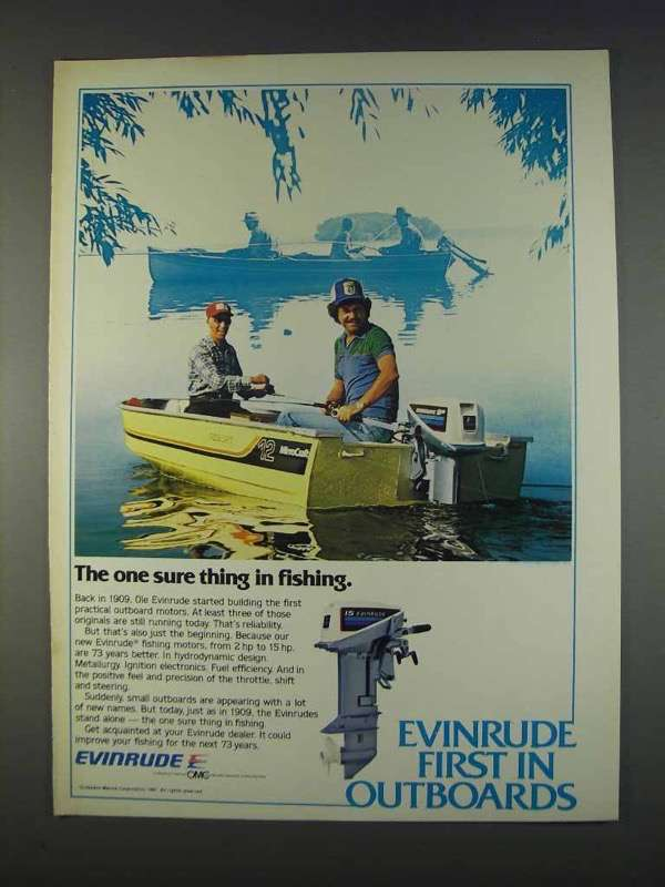 Primary image for 1982 Evinrude Outboard Motors Ad - One Sure Thing