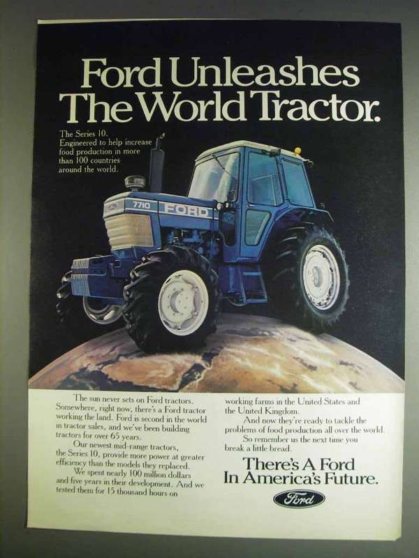 Primary image for 1982 Ford 7710 Tractor Ad - Unleashes the World Tractor