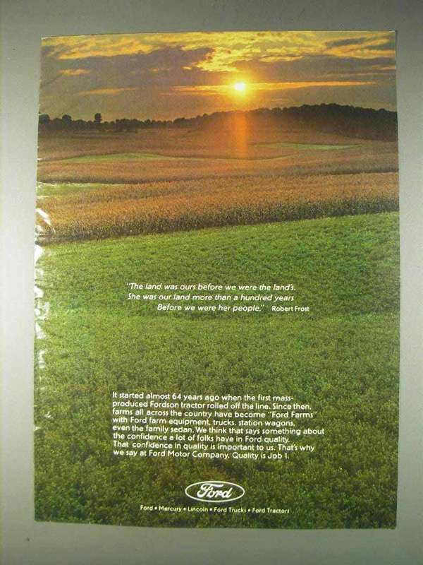 Primary image for 1982 Ford Tractors Ad - The Land Was Ours Before