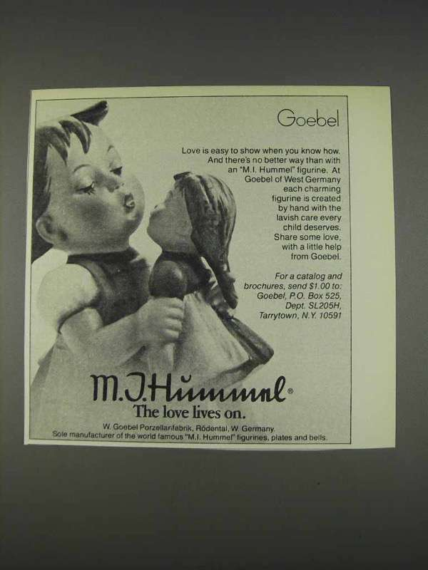 Primary image for 1982 Goebel M.I. Hummel Figurine Ad - Love Lives On