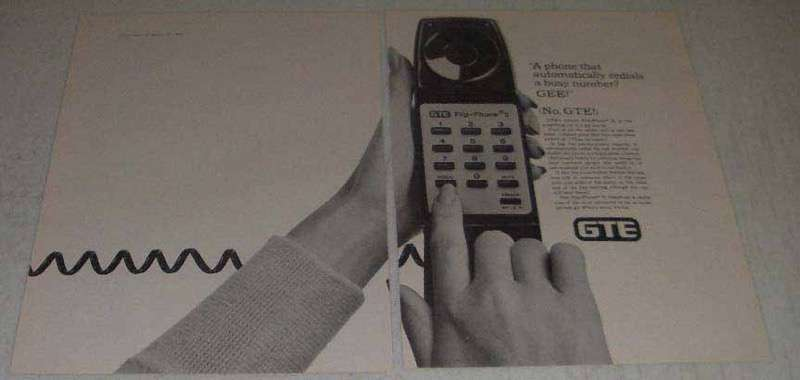 Primary image for 1982 GTE Flip-Phone II Ad - Redials Busy Number