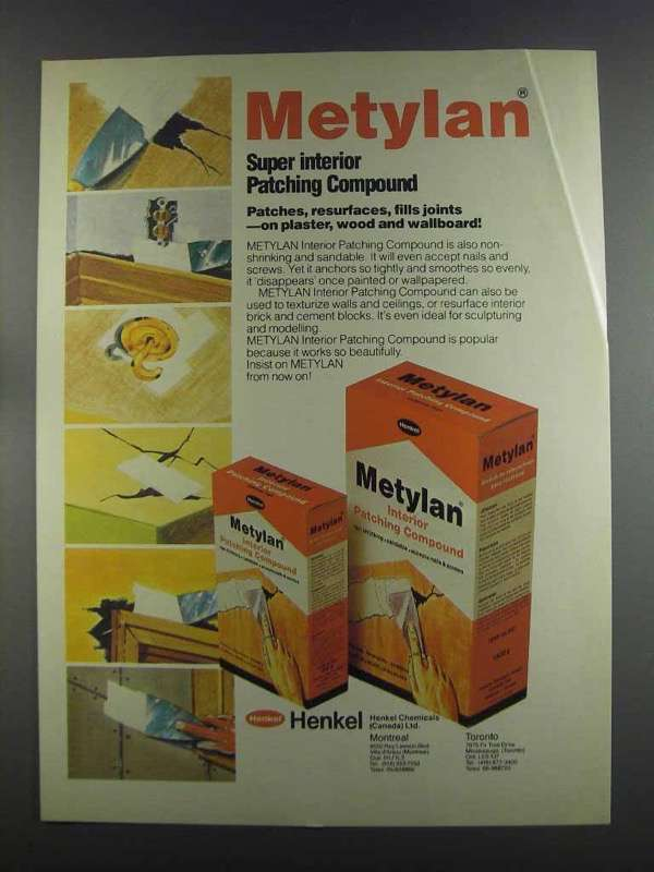 Primary image for 1982 Henkel Metylan Interior Patching compound Ad