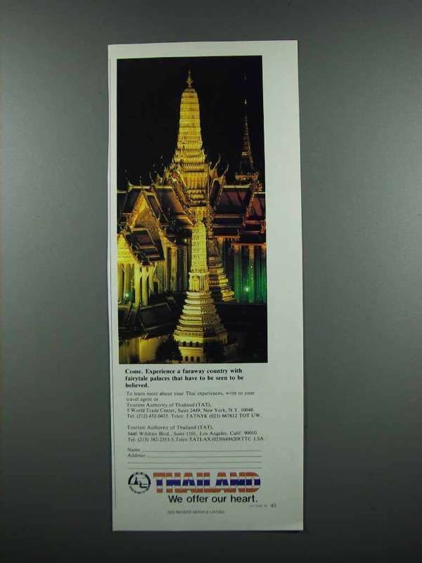 Primary image for 1983 Thailand Tourism Ad - Fairytale Palaces