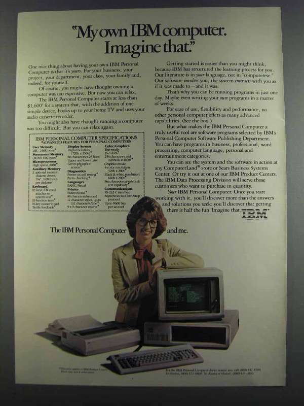 Primary image for 1982 IBM Personal Computer Ad - Imagine That
