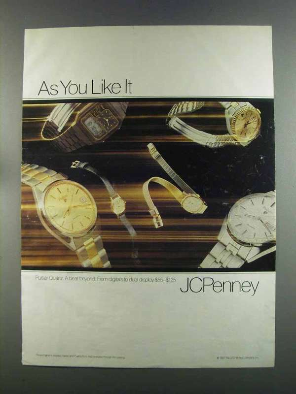 Primary image for 1982 JCPenney Pulsar Quartz Watches Ad - As You Like
