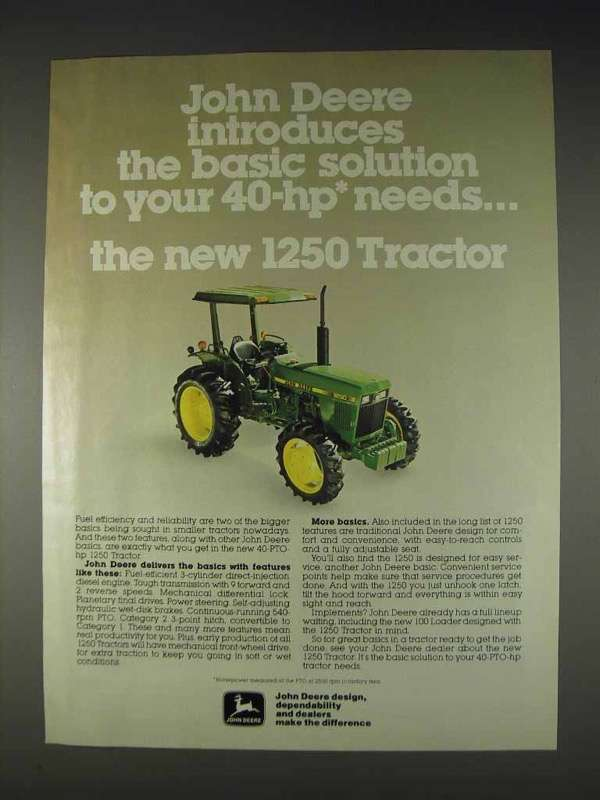 Primary image for 1982 John Deere 1250 Tractor Ad - The Basic Solution