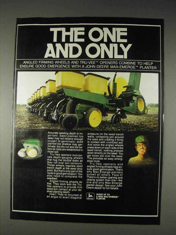 Primary image for 1982 John Deere Max-Emerge Planter Ad - One and Only