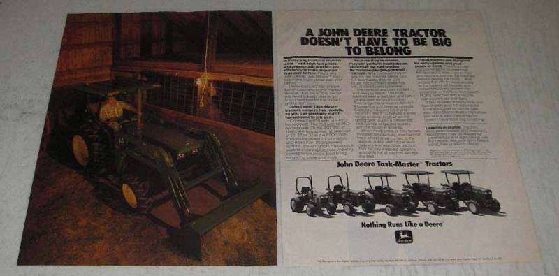 Primary image for 1982 John Deere 650 750 850 950 1050 1250 Tractors Ad