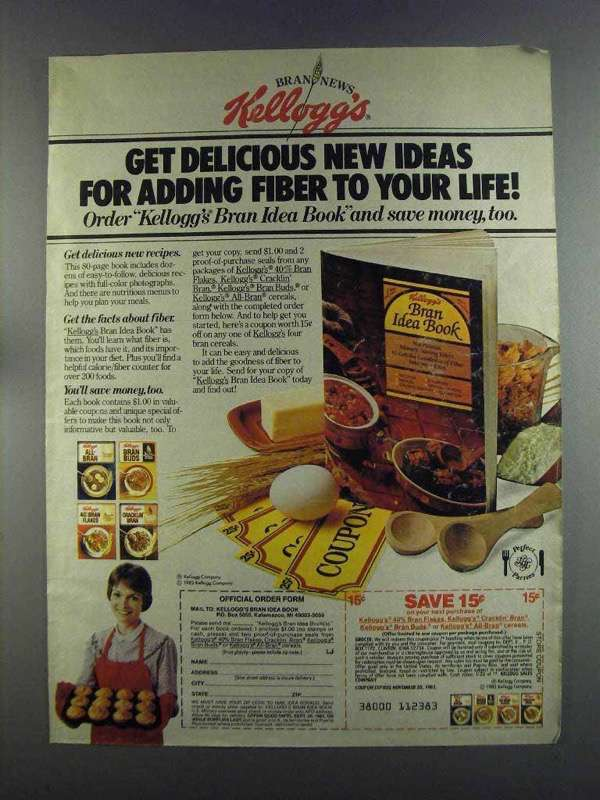 Primary image for 1982 Kellogg's Bran Cereal Ad - Delicious New Ideas