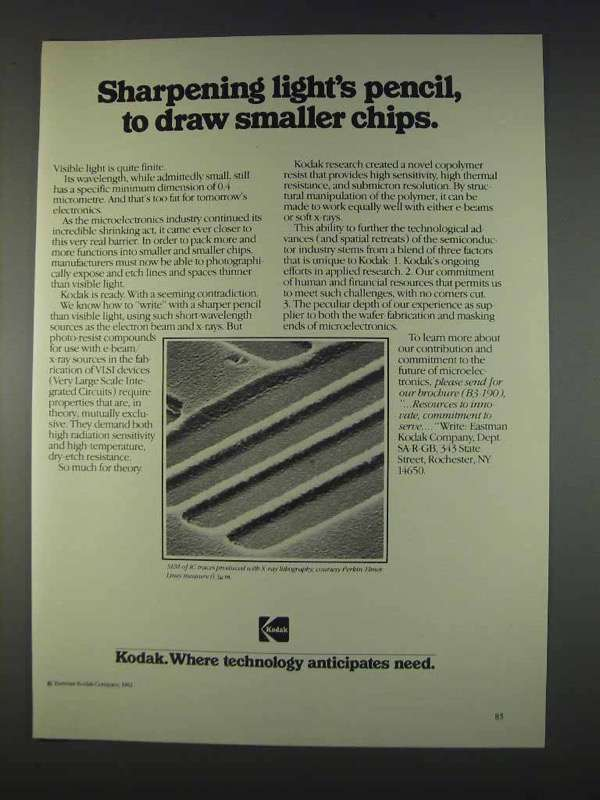 Primary image for 1982 Kodak Microelectronics Ad - Draw Smaller Chips