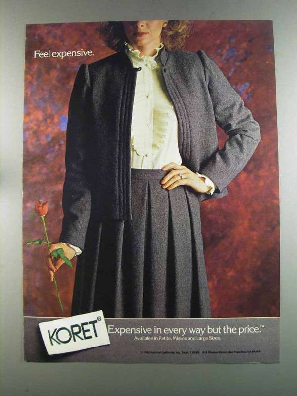 Primary image for 1982 Koret of California Fashion Ad