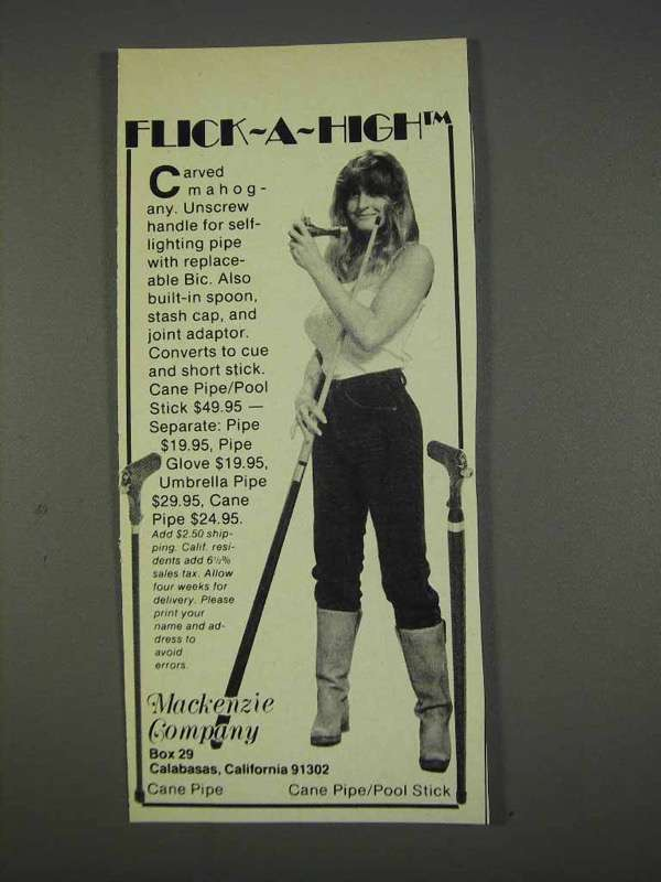 Primary image for 1982 Mackenzie Flick-a-High Cane Pipe/Pool Stick Ad
