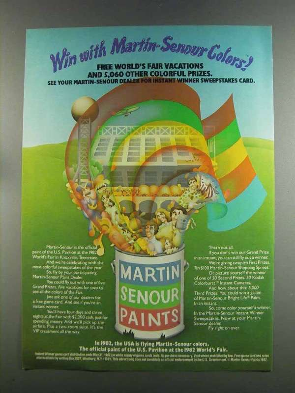 Primary image for 1982 Martin-Senour Paint Ad - Win With Colors