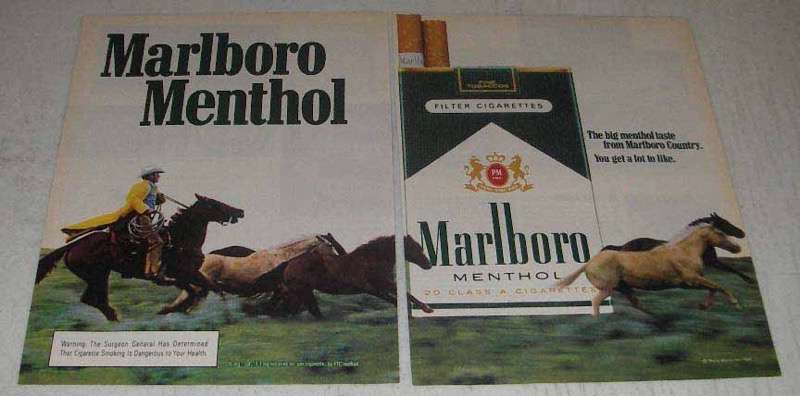 Primary image for 1982 Marlboro Menthol Cigarettes Ad - Cowboy