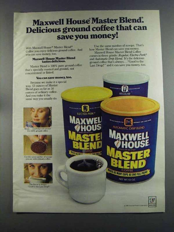 Primary image for 1982 Maxwell House Master Blend coffee Ad - Delicious