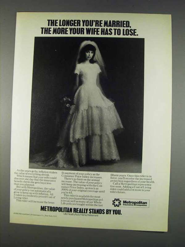 Primary image for 1982 Metropolitan Life Insurance Ad - Longer Married