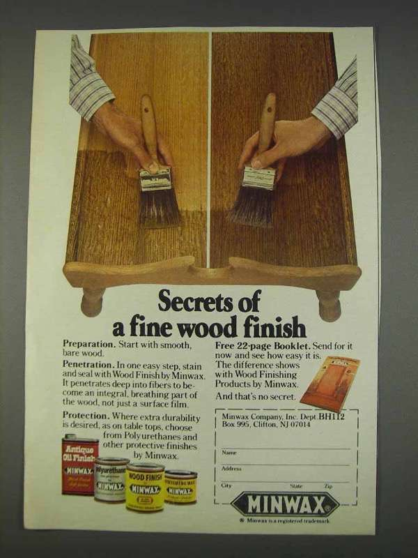Primary image for 1982 Minwax Wood Finish Ad - Secrets of fine Finish