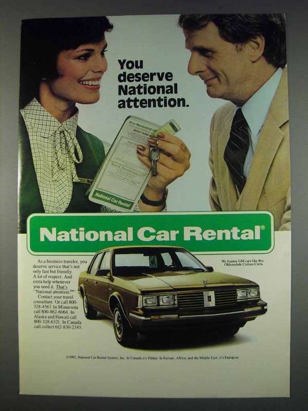 Primary image for 1982 National Car Rental Ad - You Deserve