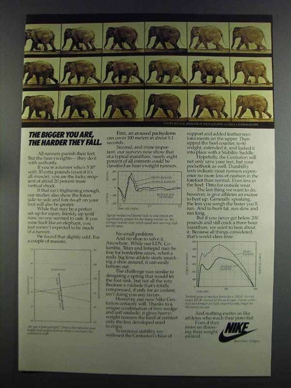 Primary image for 1982 Nike Shoes Ad - The Bigger You Are, The Harder