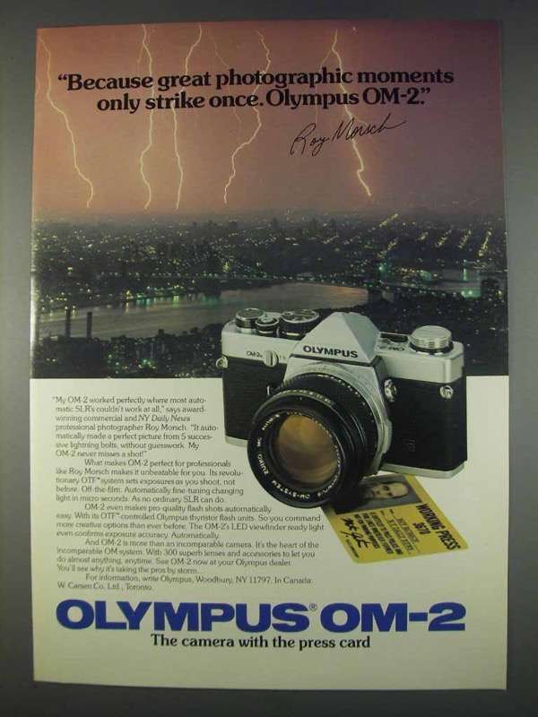 Primary image for 1982 Olympus OM-2 Camera Ad - Only Strike Once